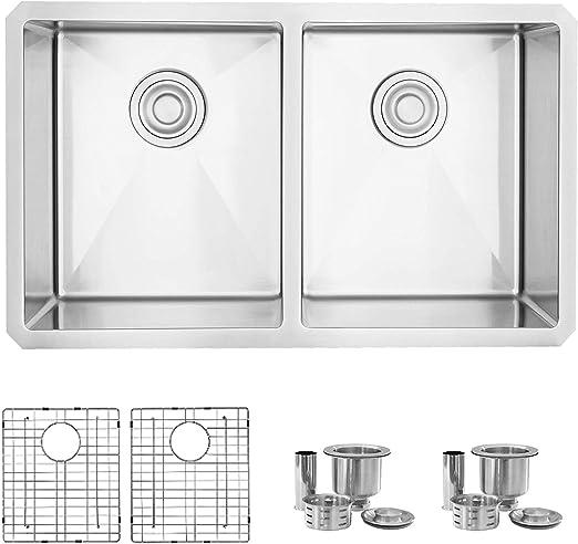 Stylish 30 Inch Undermount Kitchen Sink Double Bowl 16 Gauge Stainless Steel Handmade Kitchen Sink Bottom Grids And Luxury Basket Strainers S 304xg