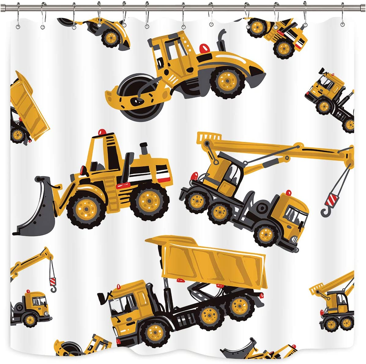 Riyidecor Construction Truck Shower Curtain Boys Excavator Cartoon Yellow Kids Machinery Bathroom Home Decor Set Waterproof Polyester 72Wx72H Inch 12 Pack Plastic Hooks