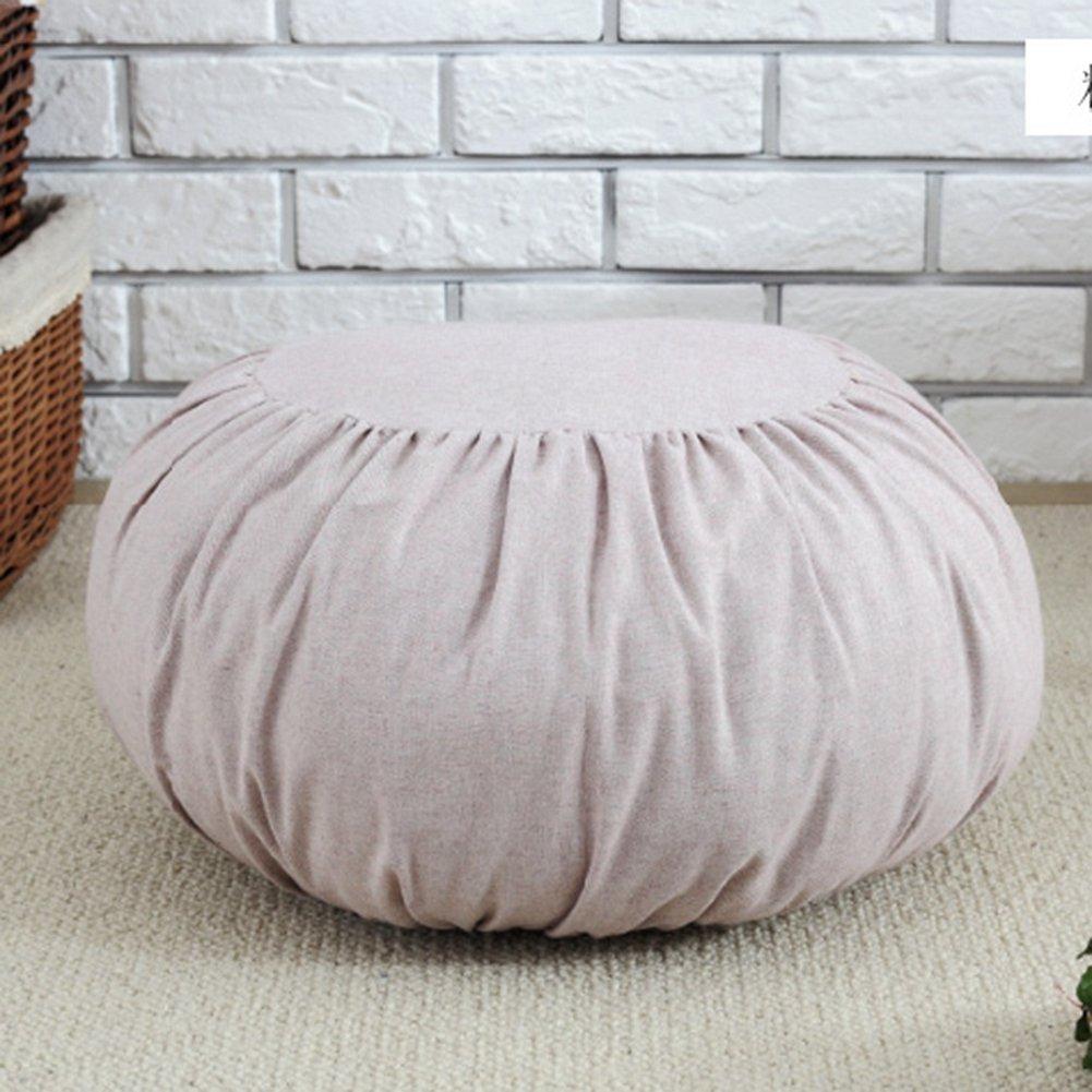 Japanese Style Cotton/Linen Poufs Decorative Round Seat Cushion Thicken Hassock Chair Tatami Bay Window Stool Cushion Futon Home Decor Supplies (light pink)
