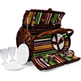 Cantley 4 Person Picnic Basket Colourful Striped Lining Wicker Hamper Barrel with Accessories - Gift ideas for Mum, Valentines, Mothers Day, Birthday, Wedding, Anniversary, Business and Corporate