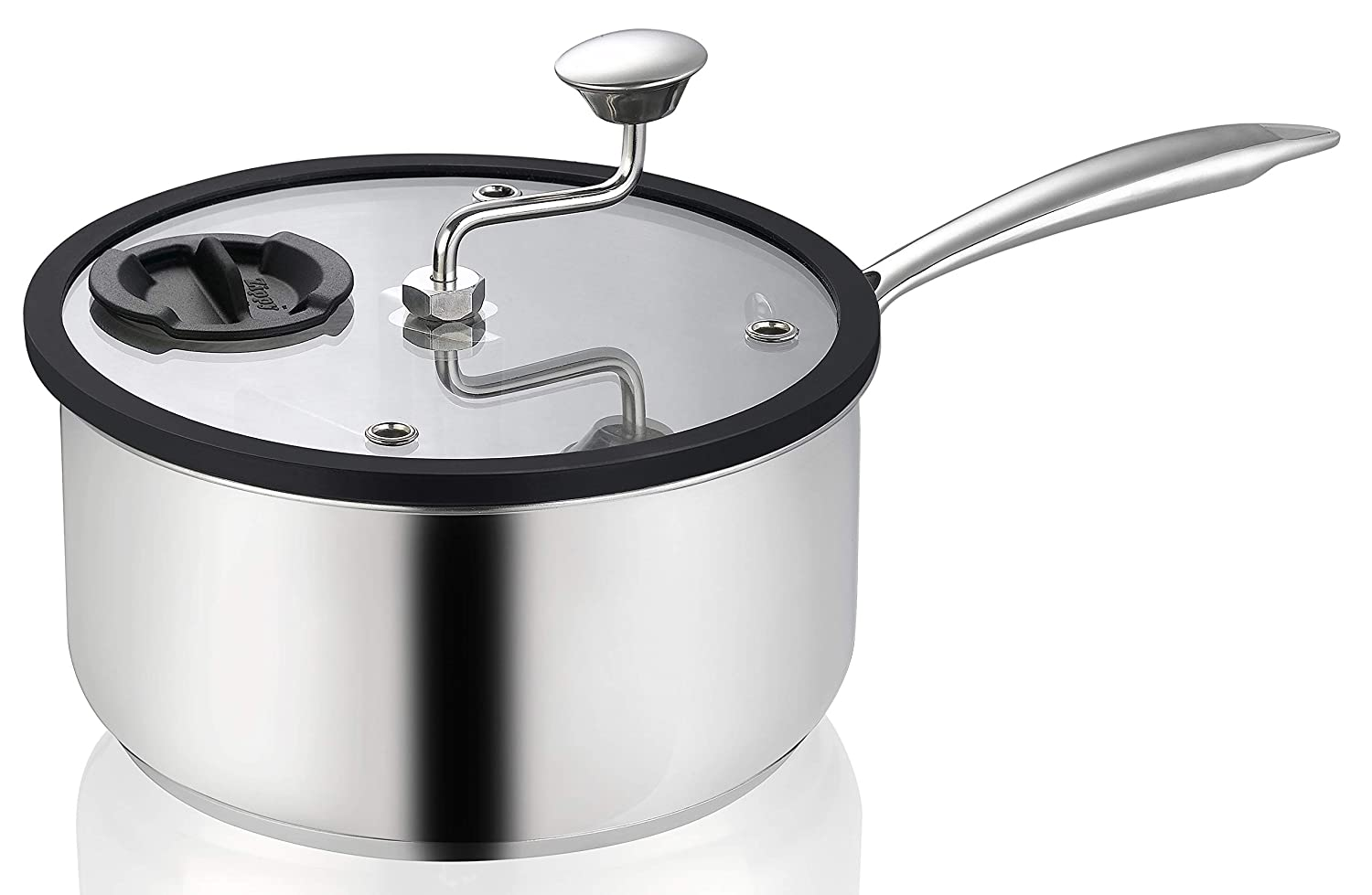 Ozeri ZY2-5Q-SSX Zippy Stainless Steel with Patented Mixer, 5.5 Qt Popcorn and Snack Maker
