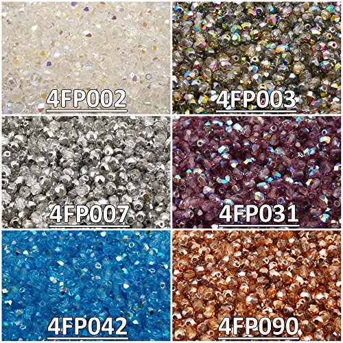 600 beads 6 colors Czech Fire-Polished Glass Beads Round 4 mm, Set 424 (4FP002 4FP003 4FP007 4FP031 4FP042 4FP090) -