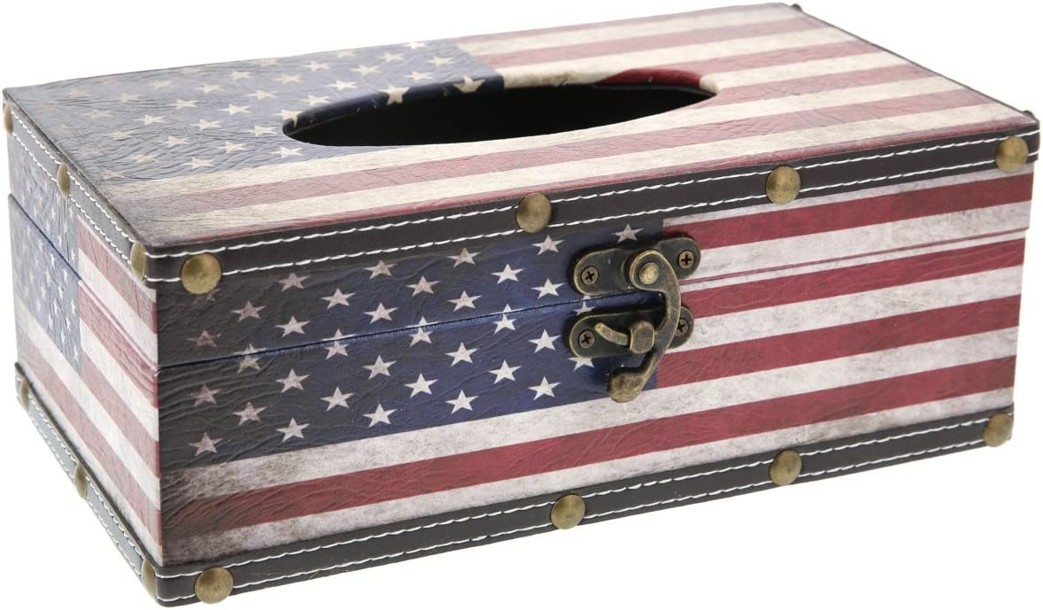 Juvale Tissue Box Wood Cover Holder - American Flag - Red White and Blue - 10 x 6 x 4 inches