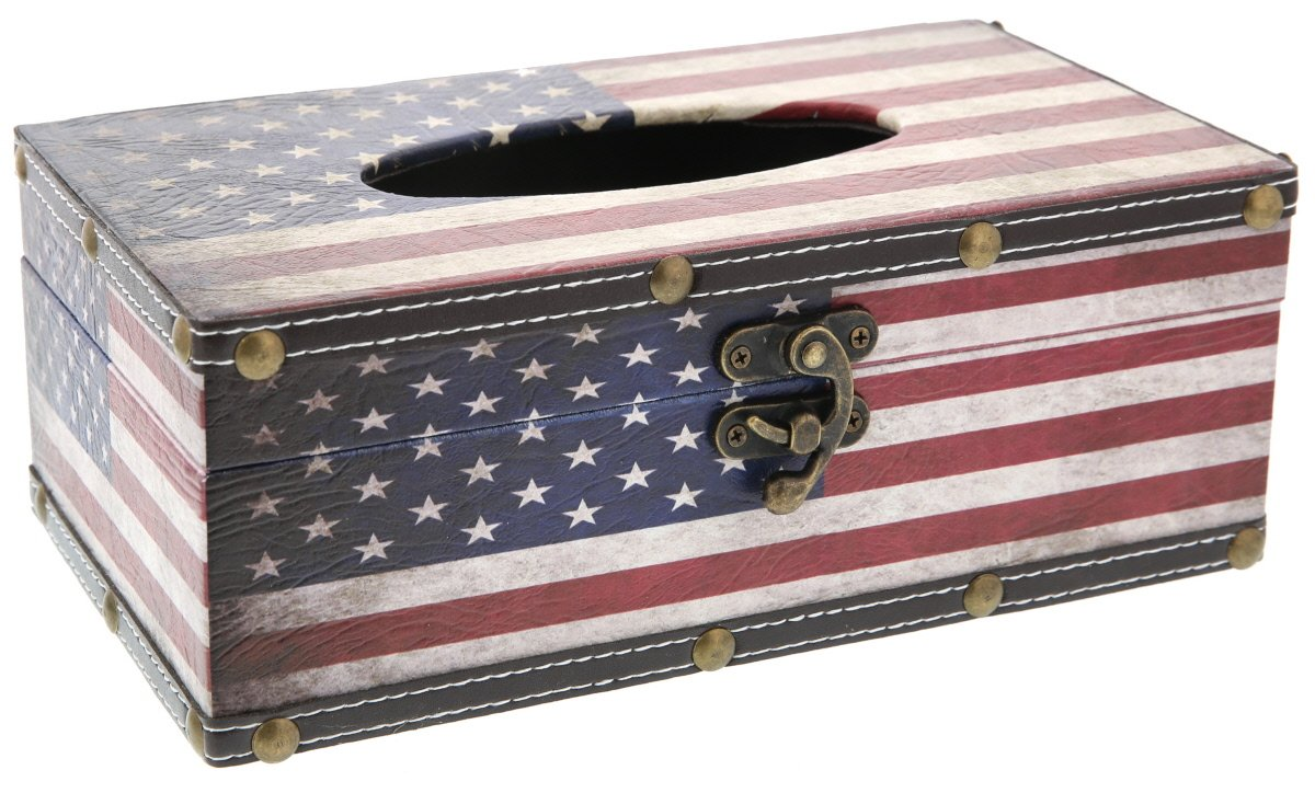 Juvale Tissue Box Wood Cover Holder - American Flag - Red White and Blue - 10 x 6 x 4 inches by Juvale