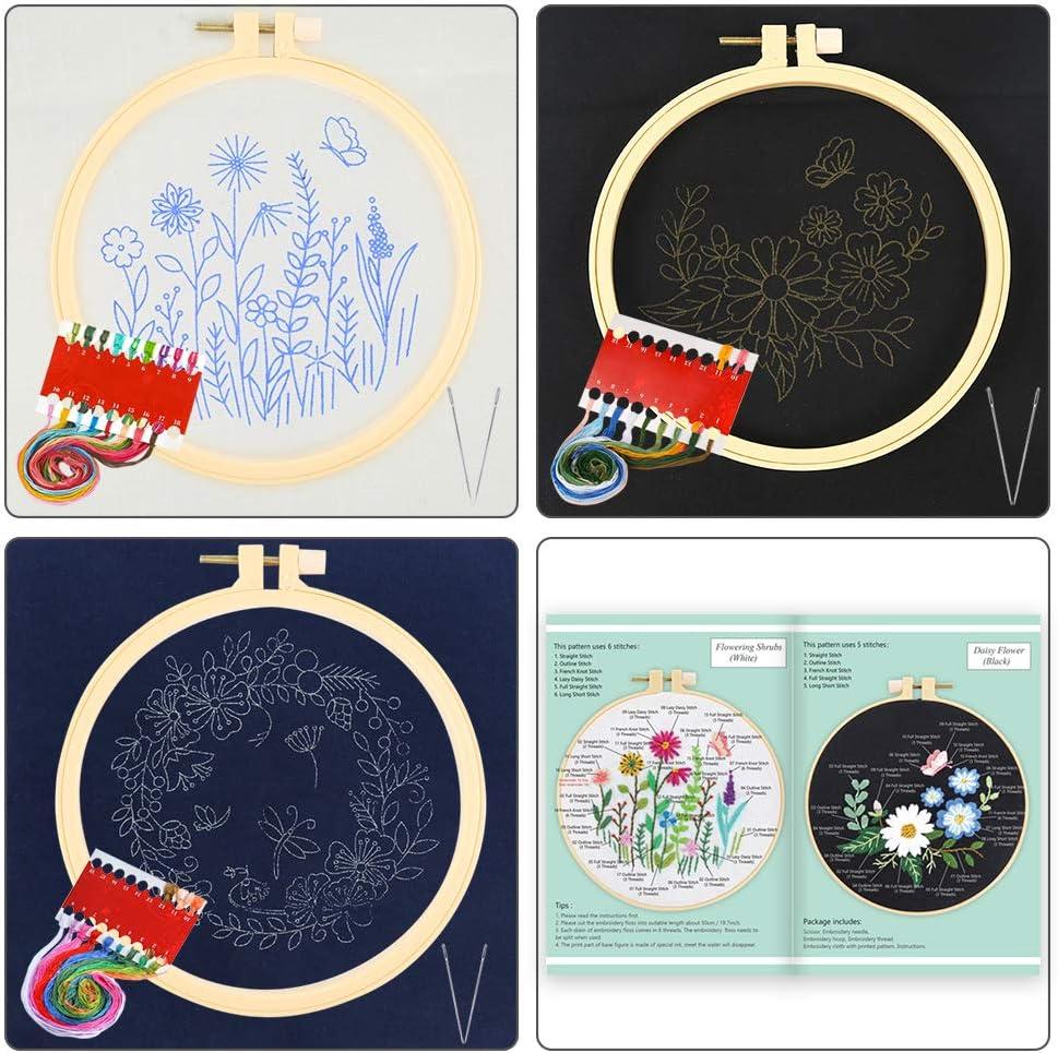 3 cerchi in plastica include abiti da ricamo con motivo floreale Set di 3 set per ricamo con motivi e istruzioni Pllieay fili colorati e strumenti