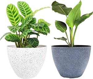 LA JOLIE MUSE Flower Pots Outdoor Indoor Garden Planters,Plant Containers with Drain Hole 8.6 inches, 1 Pack