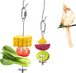 QBLEEV Bird Food Holder, Bird Feeders, Stainless Steel Parrot Fruit Vegetable Stick Holder, Foraging Toy, Bird Treat Skewer