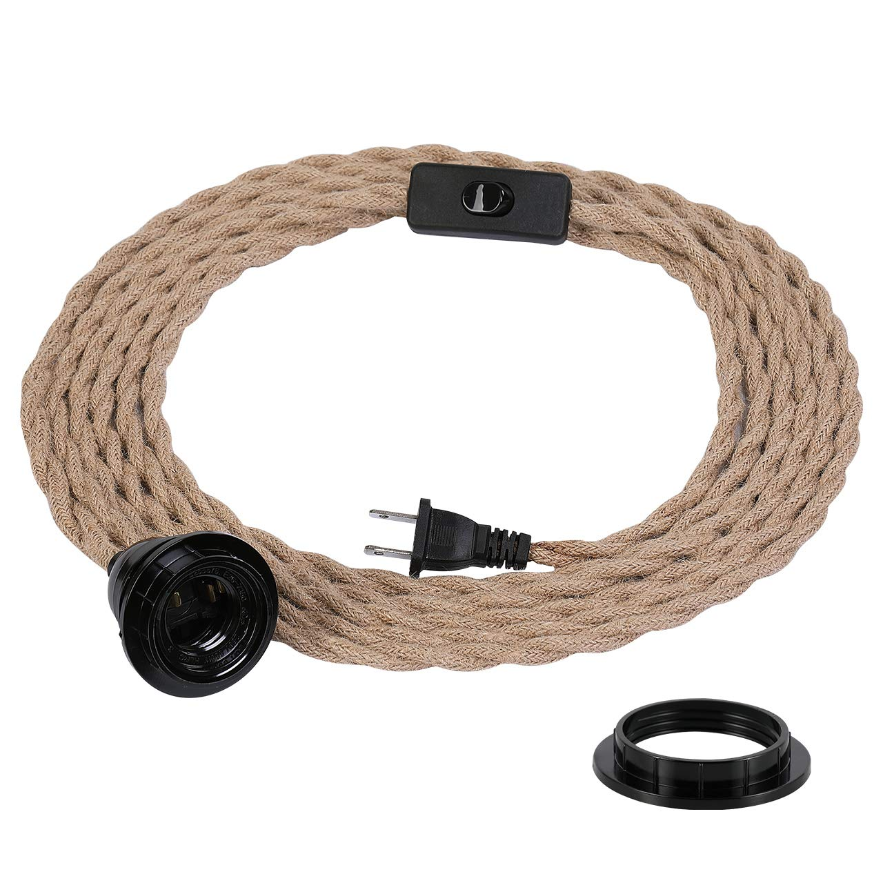 ZOOSSI Pendant Light Cord, Hanging Light Kit with Switch Plug in, 15FT Hemp Rope Cord Hang Lamp, Industrial Vintage Pendant Light Socket Set E26 E27, Pendant Lamp Farmhouse, Retro Lamp Cable DIY