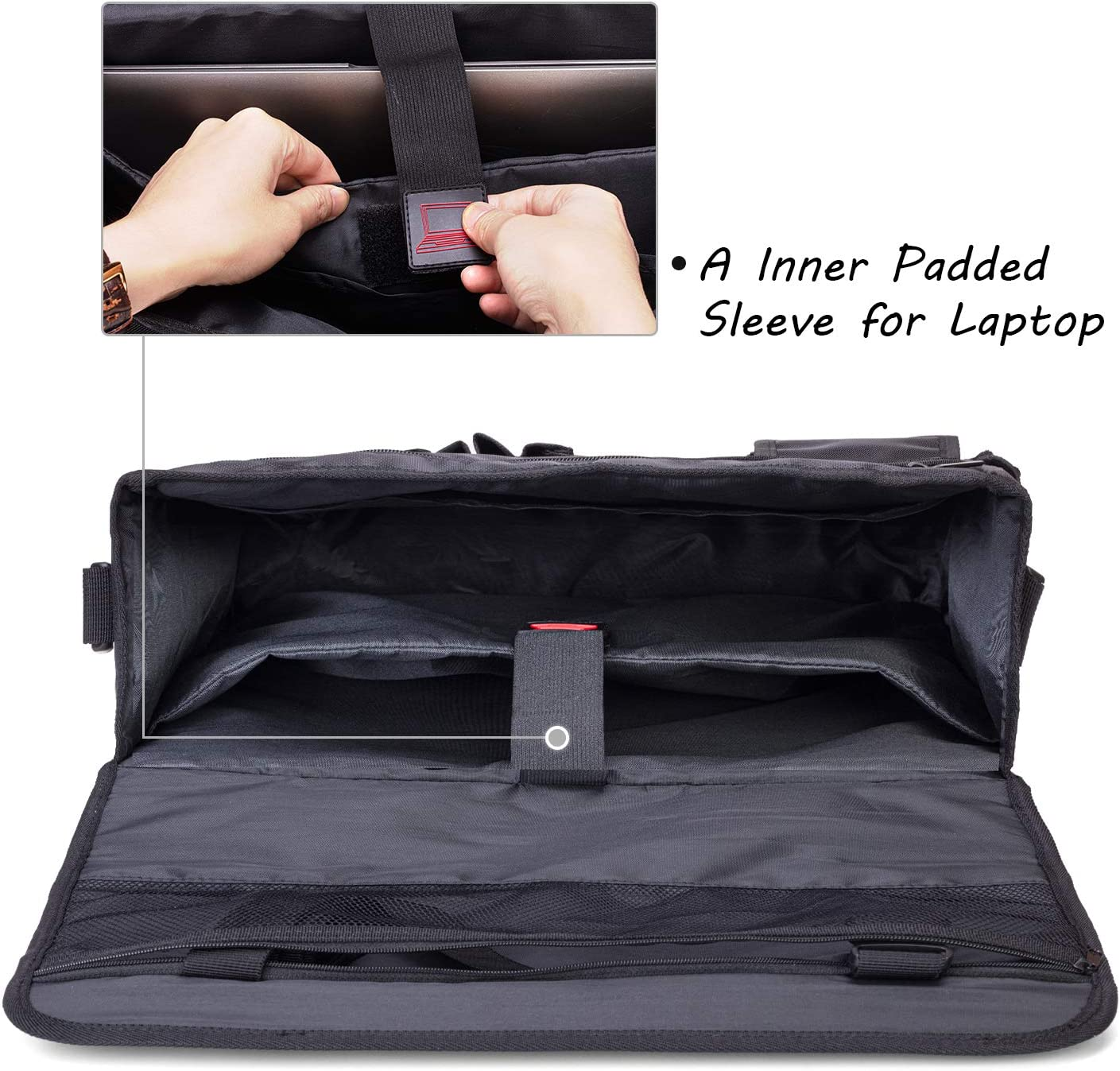 Perfect for Law Enforcement Patent Design Easily Transferred to Handbag Shoulder Bag Passenger Seat Storage Bag with Padded Sleeve for Laptop Curmio Car Front Seat Organizer Police Patrol