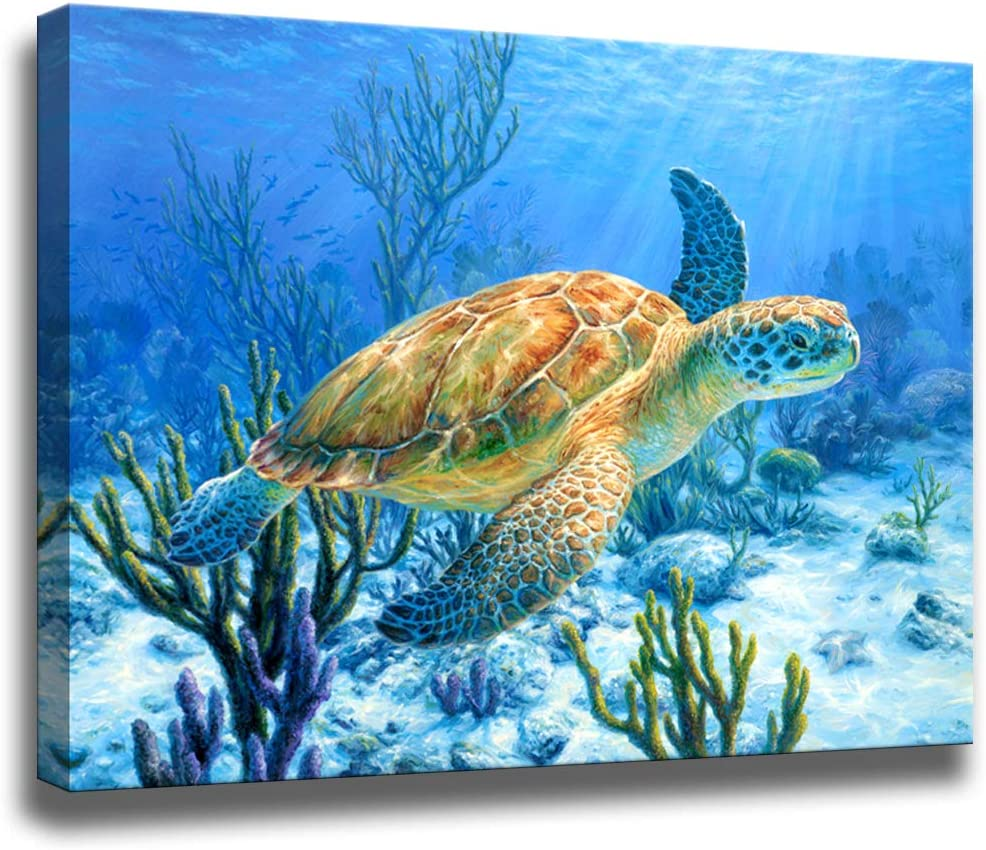 Bathroom Decor Sea Turtle Pictures Painting Wall Art Beach Decor Canvas Prints Nautical Bathroom Wall Decor Canvas Wall Art Coastal Decor Ocean Decor Small Framed Artwork For Walls Size:12