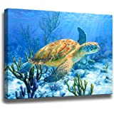 Bathroom Decor Sea Turtle Pictures Painting Wall Art Beach Decor Canvas Prints Nautical Bathroom Wall Decor Canvas Wall…
