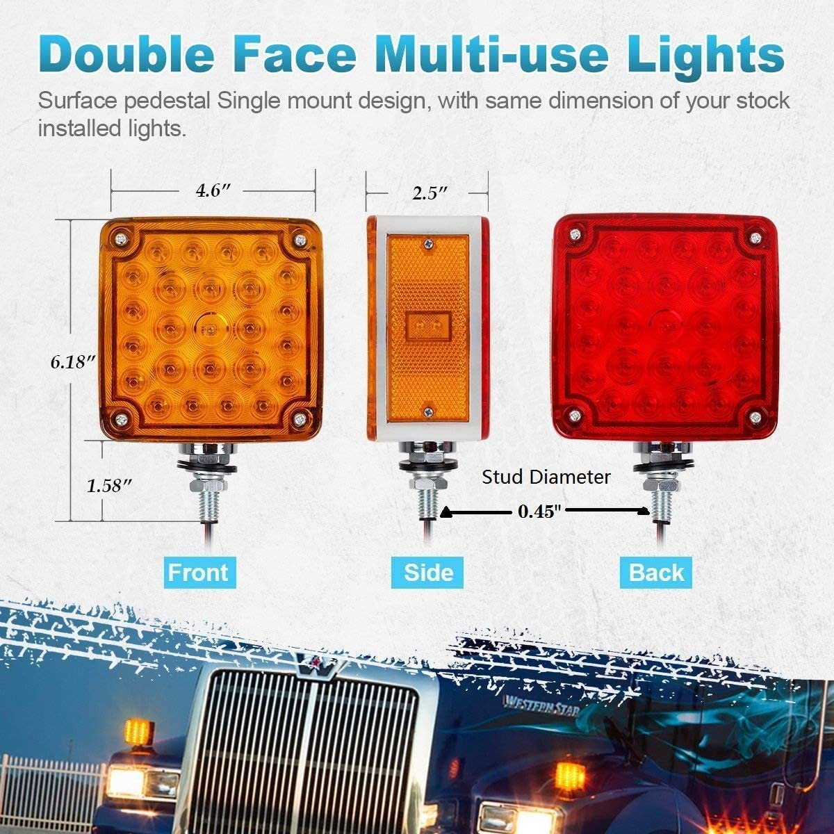 2Pcs Amber//Red Truck Trailer Mark Light 52 LED Square Dual Double Face Fender Stop Turn Signal Tail Lamp Stud Pedestal Lights Replacement for Volvo Kenworth Peterbilt Freightliner Western Star