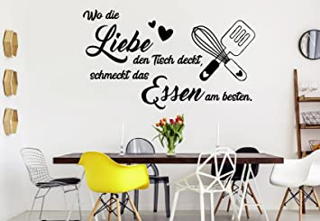 tjapalo® s-pkm364 Wandtattoo Küche Wandtattoo wo die Liebe den Tisch deckt  schmeckt das Essen am besten (B80 x H41 cm)