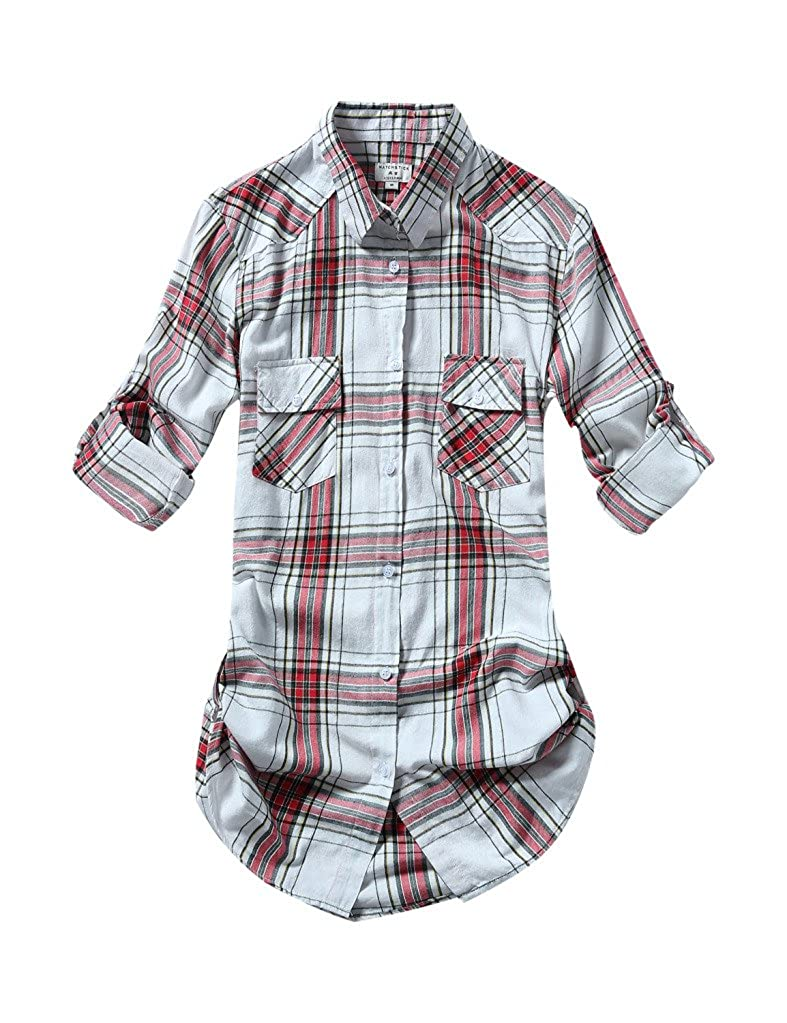 2027 Checks 2 Match Women's Long Sleeve Flannel Plaid Shirt