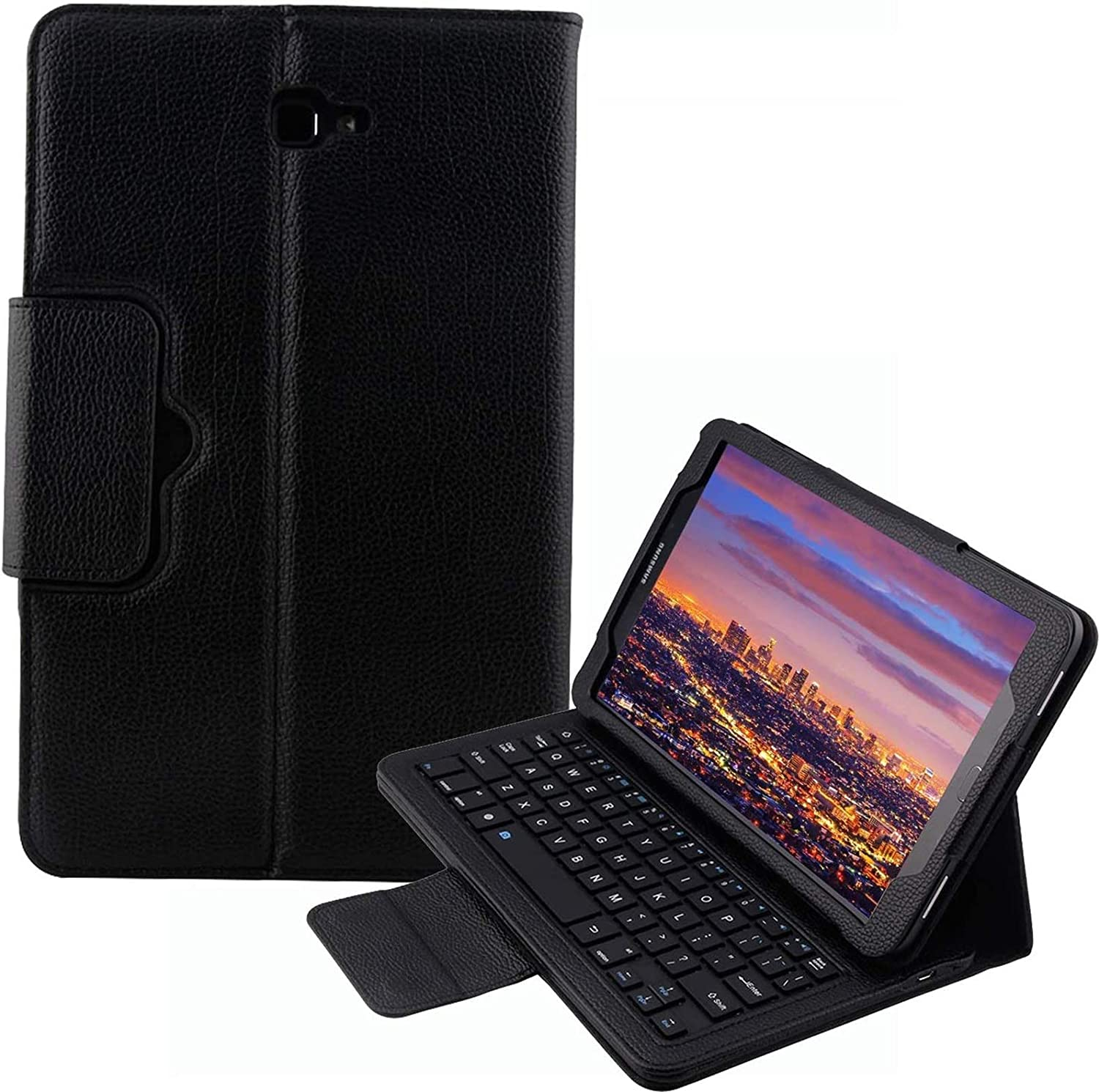 SM-T580 / T585 / T587 Keyboard Case for Samsung Galaxy Tab A 10.1, YMH Detachable Magnetic Removable Wireless Bluetooth Smart Keyboard Cover Protective Stand Book Folio Slim Fit PU Leather (Black)