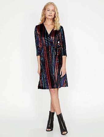 32a021a6209f8 Koton Kadın 9KAK83676EK Elbise, Mavi Çizgili, XL: Amazon.com.tr