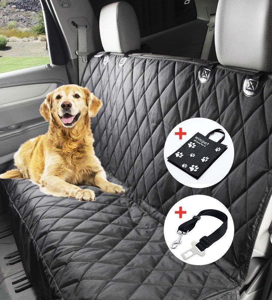 Wimypet Manta Impermeable para Perros (150 x 144 cm, con cinturón de Seguridad y Bolsa de Transporte para Coches