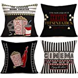 Movie Theater Cinema Personalized Cotton Linen Square Burlap Throw Pillow Case