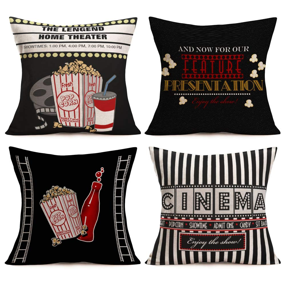 Aremetop Movie Theater Throw Pillow Covers Vintage Cinema Ticket with Popcorn Cola,Filmstrip Printed Home Decorative Pillowcase Cotton Linen Sofa Couch Throw Pillow Cushion Cover 18 X 18 Inch,Set of 4