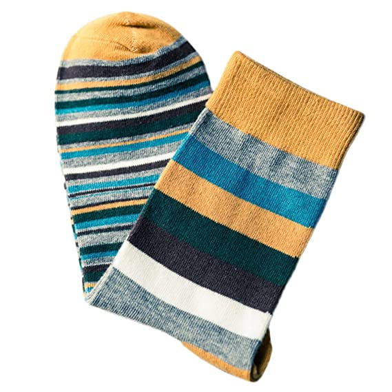 DAYLIN Hombres Calcetines Otoño Moda Multicolor Calcetines de Rayas, Talla única (talla única, Amarillo): Amazon.es: Ropa y accesorios