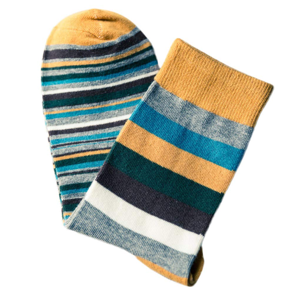 vermers Tube Socks with Stripes Men's Colorful Autumn Fashion Color Striped Socks Casual Socks(Yellow)