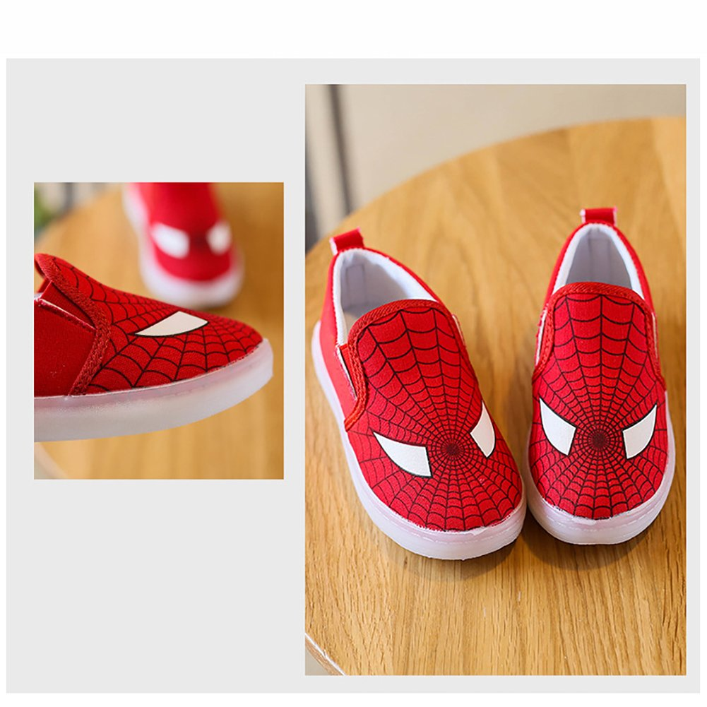 LANXI Kids Cartoon Light Up Shoes Casual Canvas Loafers LED Sneakers for Boys Girls