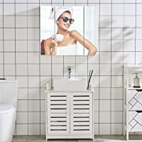 DICTAC Waschbeckenunterschrank Badschrank mit Siphonausschnitt Waschtischschrank Badzimmerschrank Badregal Stehschrank Aufbewahrungsschrank