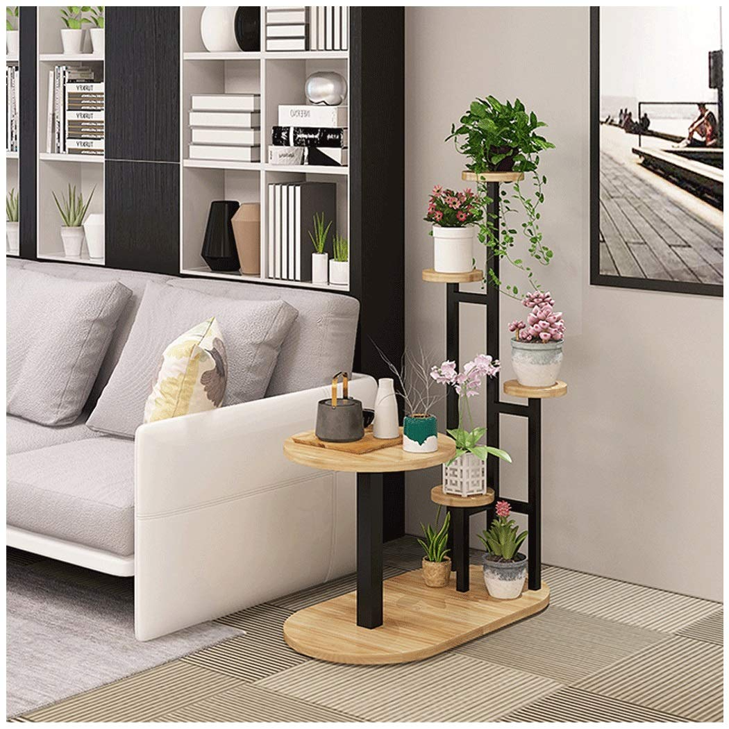 Flower Shelf Sofa Side Combination Shelf Creative Coffee Table Multi-layer Indoor Space Sofa Side Several Combination Racks Wrought Iron Flower Pot Rack ( color : Black Frame+Light Walnut Swatch ) by YONGYONG (Image #2)