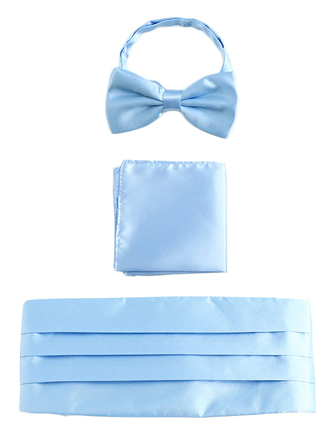 Men Satin Cummerbund & Bow Tie & Breast Pocket Handkerchief 3 in 1 Set for Wedding Party Ball Banquet Smoking Gentleman - Plain