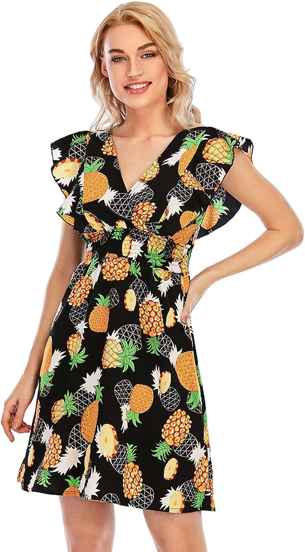 Gardenwed Women's Summer Dress with Ruffle Sleeveless Deep V Neck Floral Print Cocktail Casual Short Beach Dresses