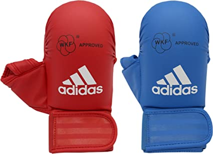 Anual compensación Precioso  Amazon.com : adidas Unisex's WKF Karate Mitts with Thumb, Red, XL : Sports  & Outdoors