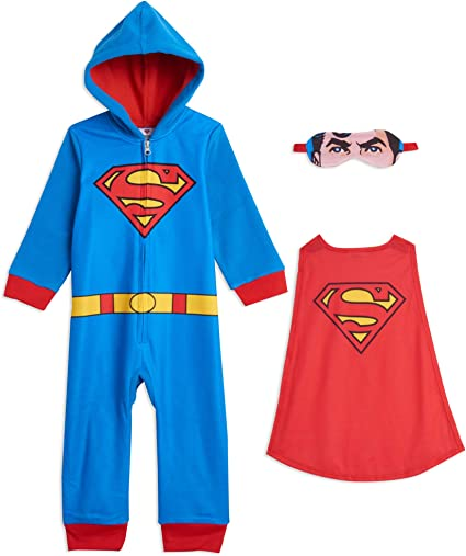 DC Comics Justice League Batman Superman Zip-Up Hooded Onesie Pajama Coveralls