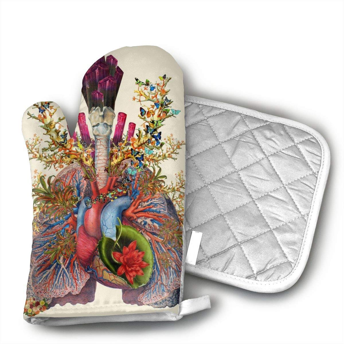 Wiqo9 Anatomical Collages Oven Mitts and Pot Holders Kitchen Mitten Cooking Gloves,Cooking, Baking, BBQ.