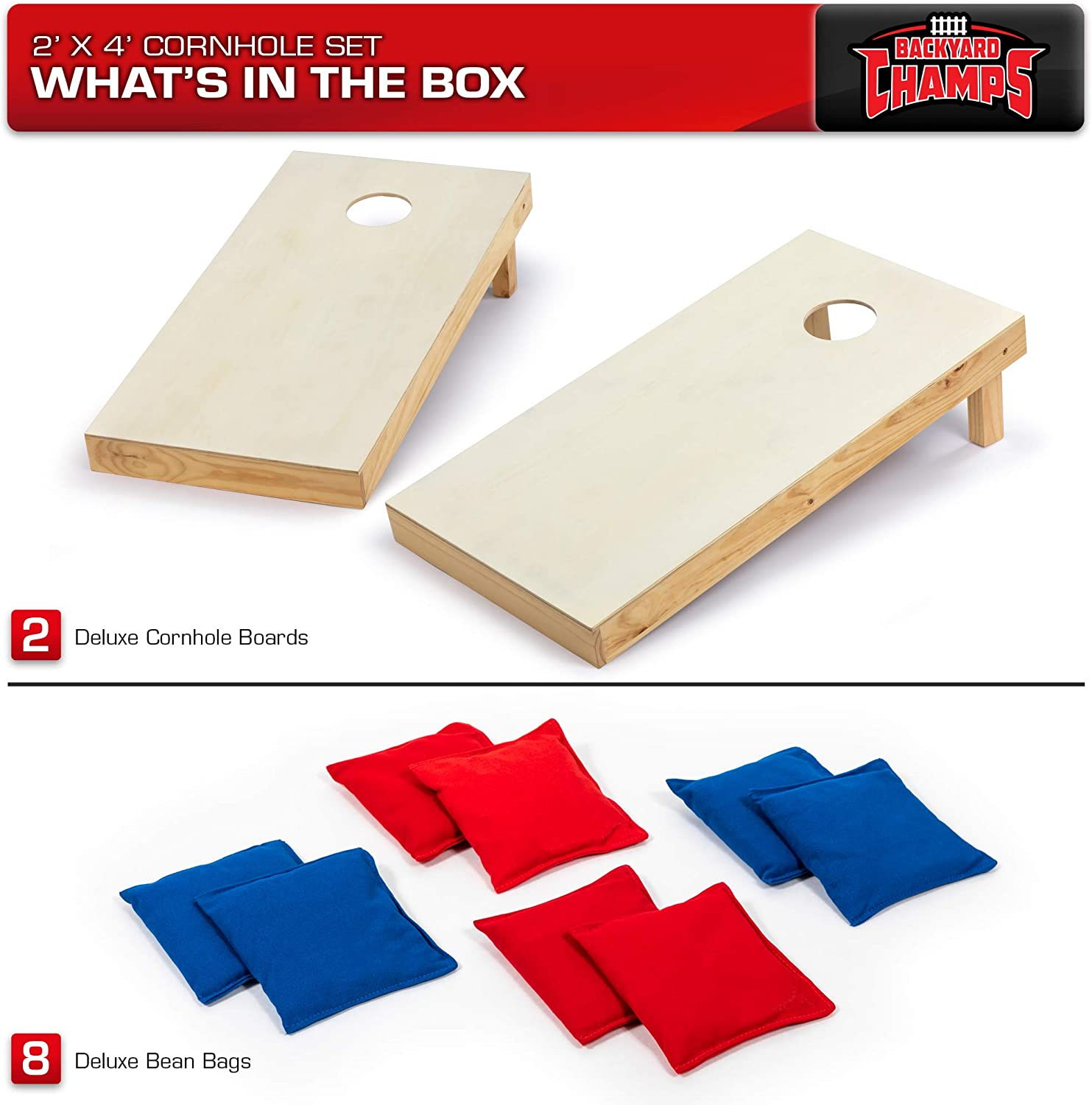 Backyard Champs Corn Hole Outdoor Game USA Stars and Stripes 2 x 3 Foot 2 Regulation MDF Cornhole Boards and 8 Bean Bags