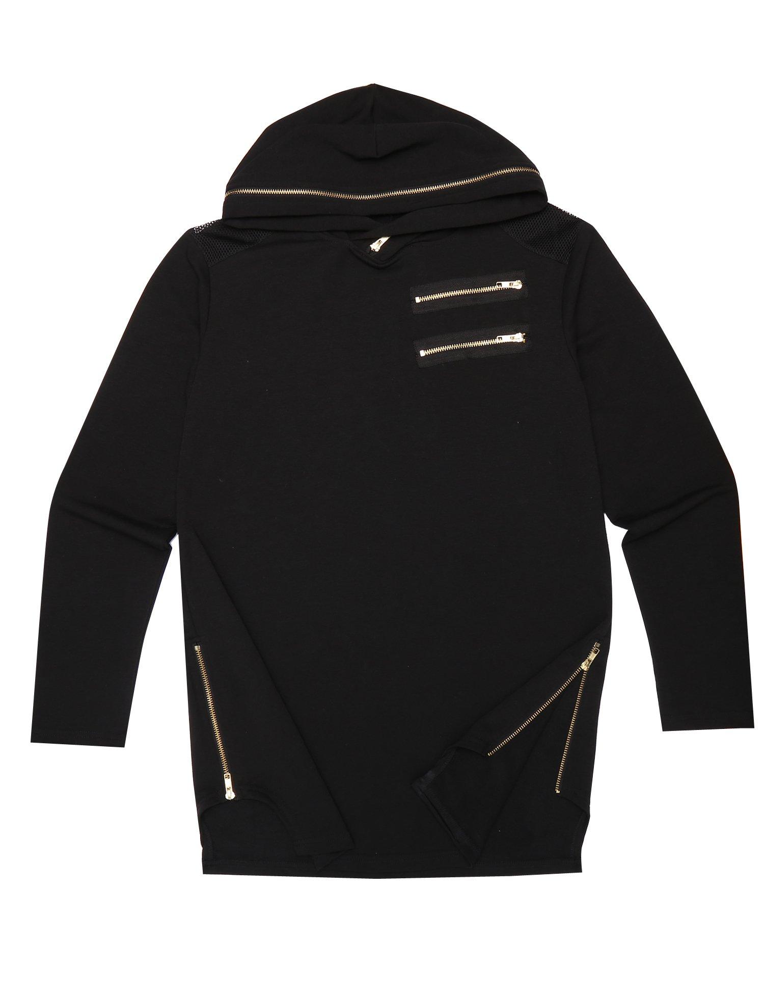 Coofandy Men's Hipster Hip-hop Long Street T Shirt With Gold Zipper