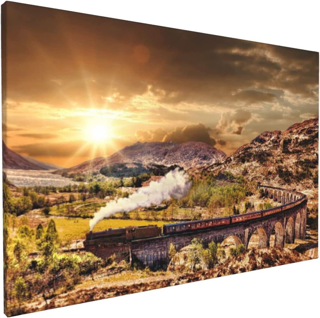 Canvas Wall Art,Glenfinnan Railway Viaduct In Scotland With The Jacobite Steam Train Against Sunset Over Lake,Frameless Painting Home Decor for Living Room Bedroom Office Ready to Hang,18