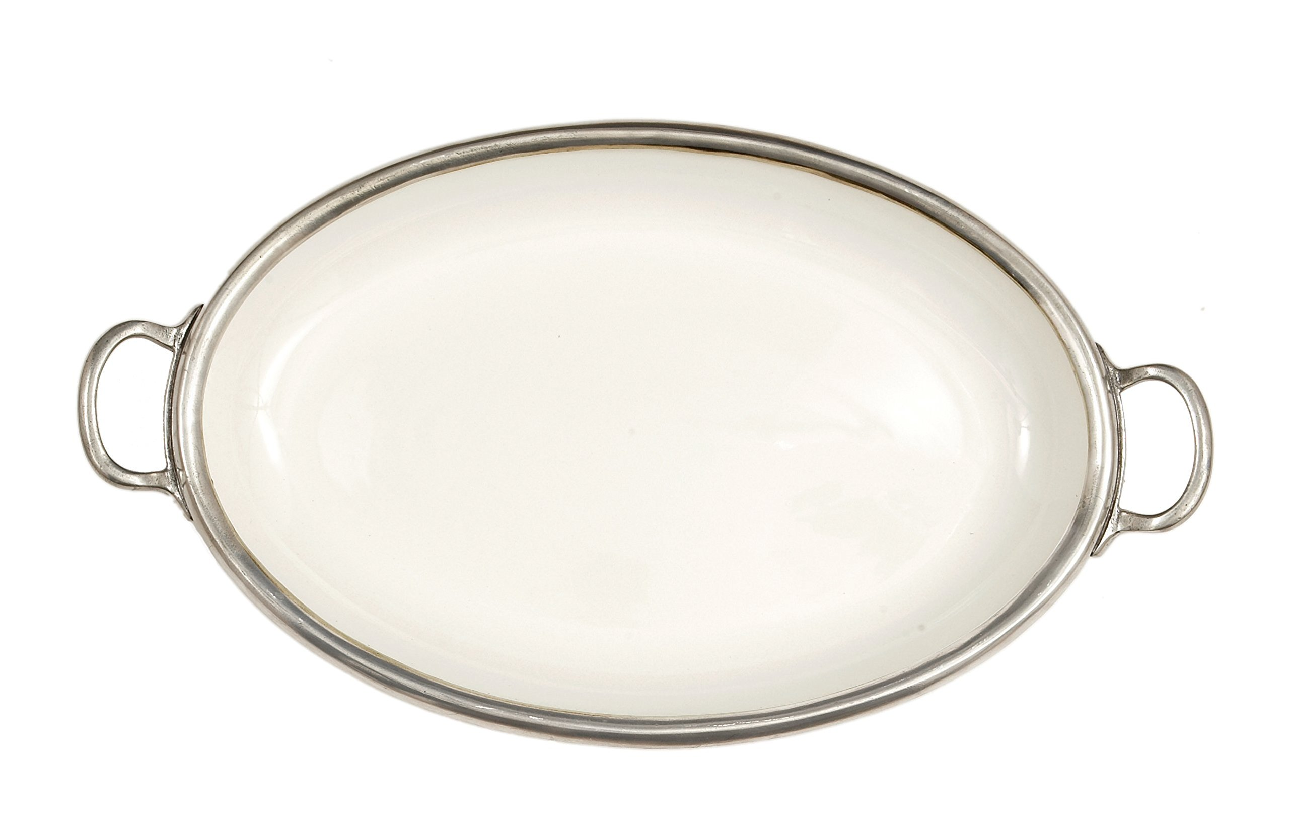 Arte Italica Tuscan Oval Tray with Handles, White