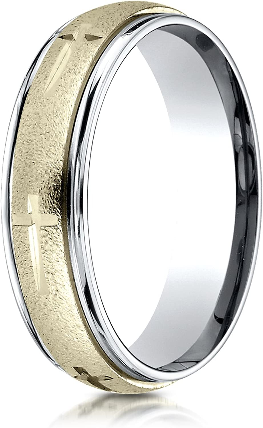 PriceRock 10K Yellow Gold 6mm Slightly Domed Standard Comfort-Fit Wedding Band Ring for Men /& Women Size 4 to 15