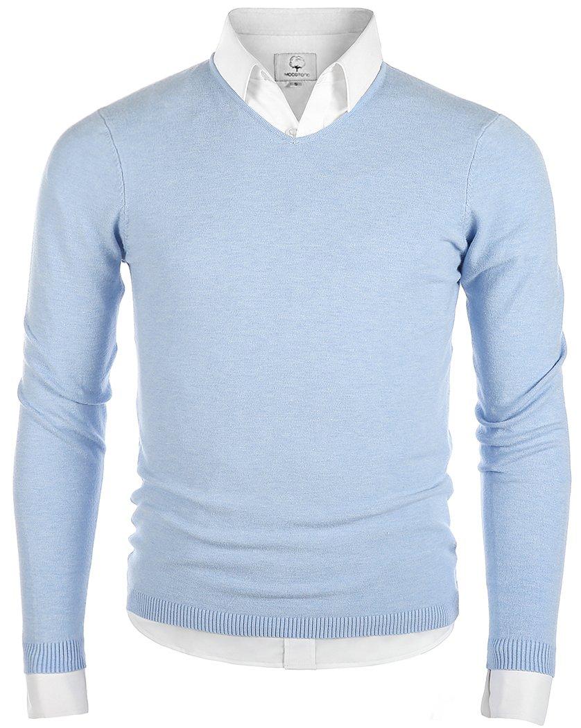 MOCOTONO Men's V-Neck Long Sleeve Pullover Casual Sweater Light Blue Large