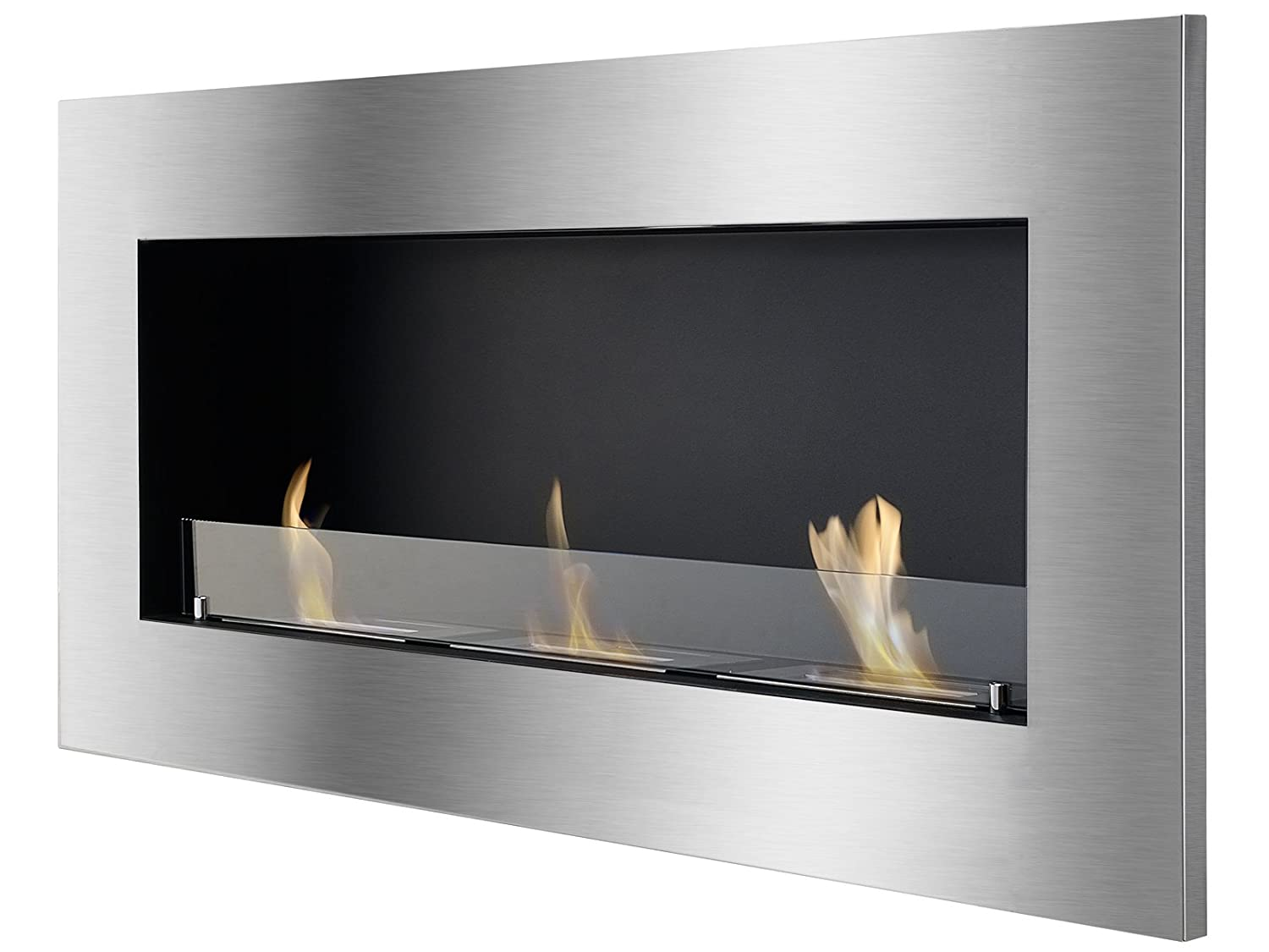 fireplace black ventless ignis quadra recessed ethanol