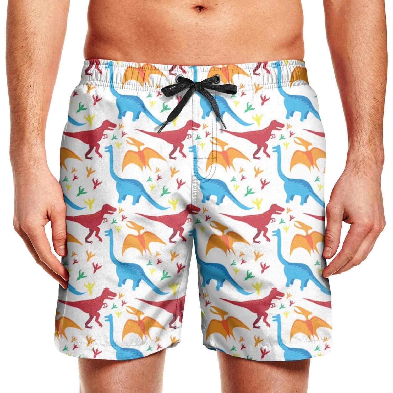 Men Swim Trunks Board Shorts Seamless Dinosaur Side Split Adjustable Beach Wear Shorts