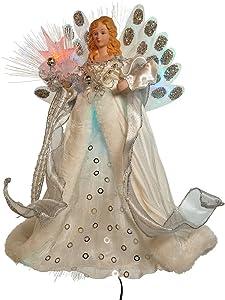 Kurt Adler LED Fiber Optic Angel Figurine, 12-Inch, White and Silver