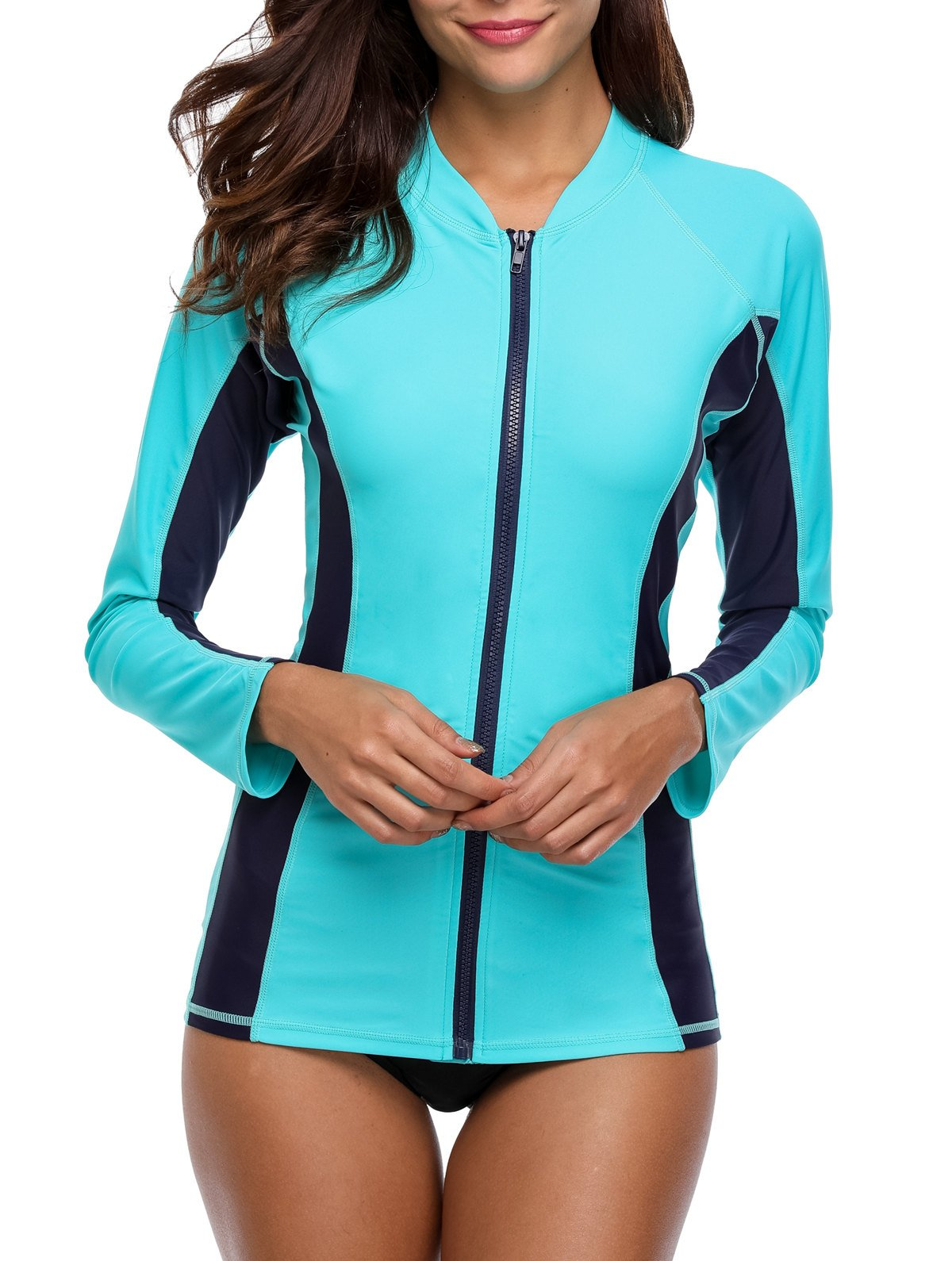 ATTRACO Long Sleeve Sporty Swim Shirt Womens Rashguard Tops Aqua Large by ATTRACO (Image #5)