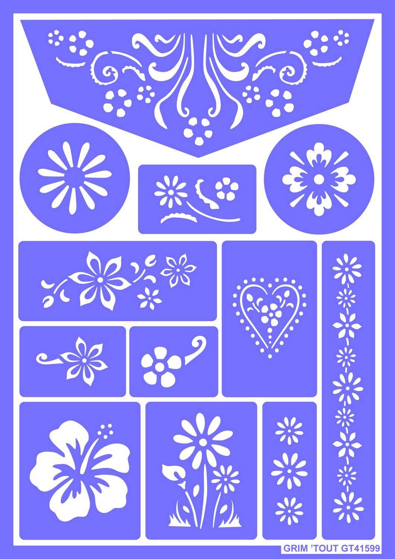 Unbekannt OZ International–GT41599–Kreativset - Schablone für Blumenmuster / Make-Up