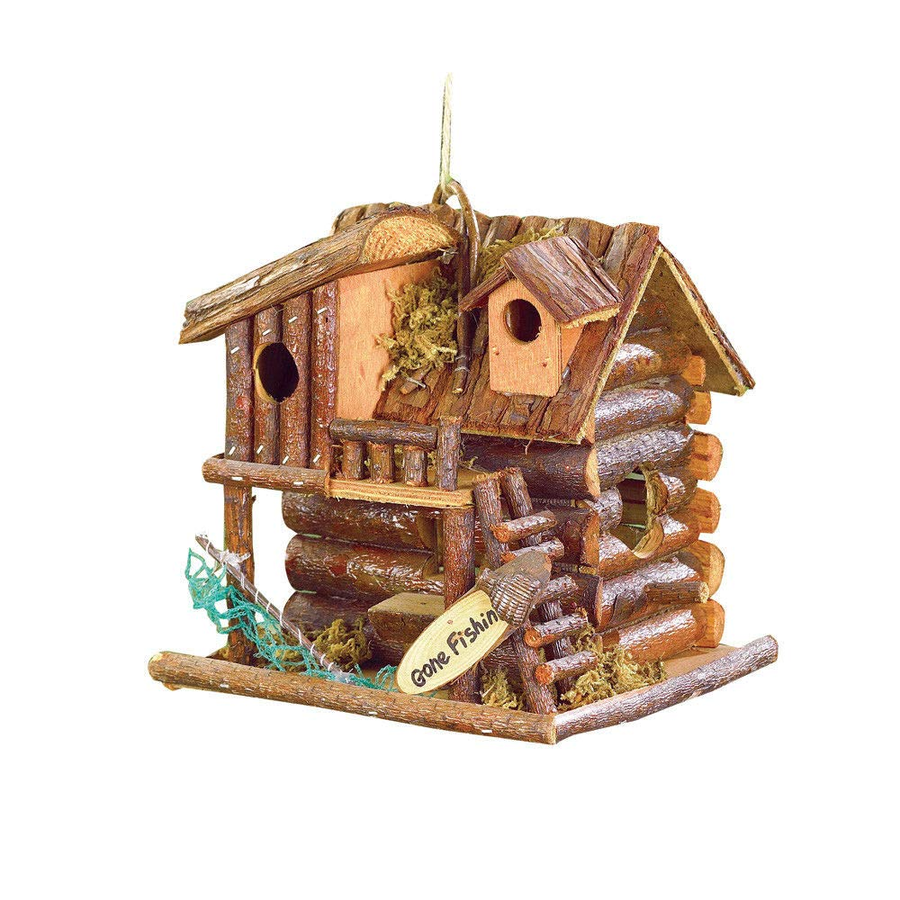 Fishing Cabin Log Birdhouse