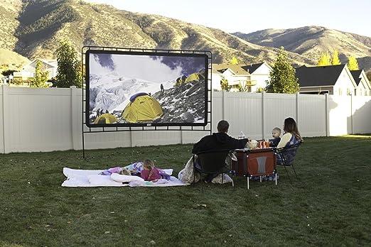 Camp Chef OS-144 Pantalla gigante para proyección de películas por la noche, para interiores o exteriores, color blanco: Amazon.es: Jardín