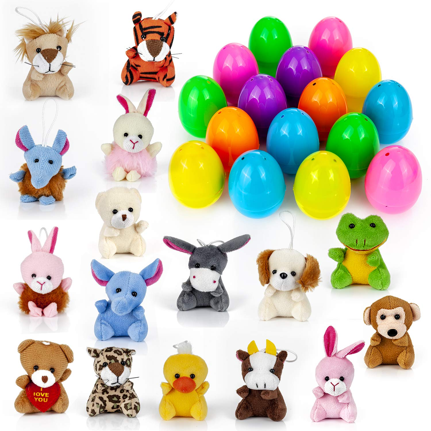 YIHONG 16 Toys Filled Surprise Easter Eggs, 3 Inch Colorful Prefilled Plastic Easter Eggs with 16 Pcs Mini Animal Plush for Kids Easter Hunt, Basket Stuffers Fillers and Party Favor