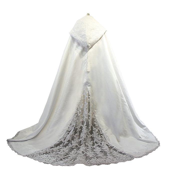 60e15908e6 Women s Long Wedding Cape Hooded Cloak for Bride Lace Edge  Amazon ...