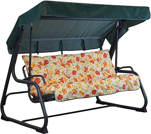 Tecnoweb - Cojines para balancín de 3 plazas - Incluido también el techo a juego - 100 % fabricado en Italia - Ideal para exteriores (jardines y patios) - Estructura no incluida, Fantasia Rosso/Giallo: Amazon.es: Jardín