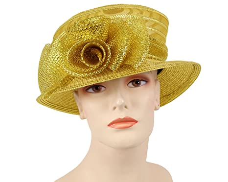 Ms Divine Women s Glittering Straw Church Dress Hats Formal Hat  0827 (Gold) f9da9de46df